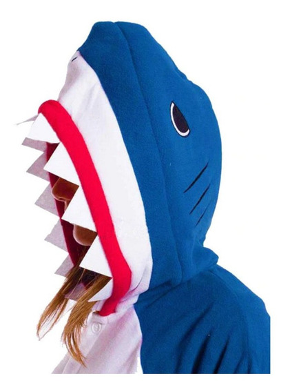 Unicórnio Pijama Kigurumi Cosplay Tubarão Shark + Brinde