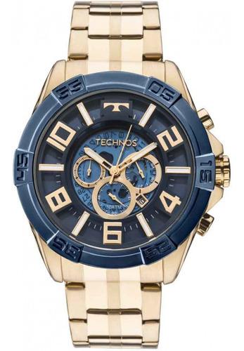 Relógio Technos Original Cronógrafo Dourado Nfe E Garantia