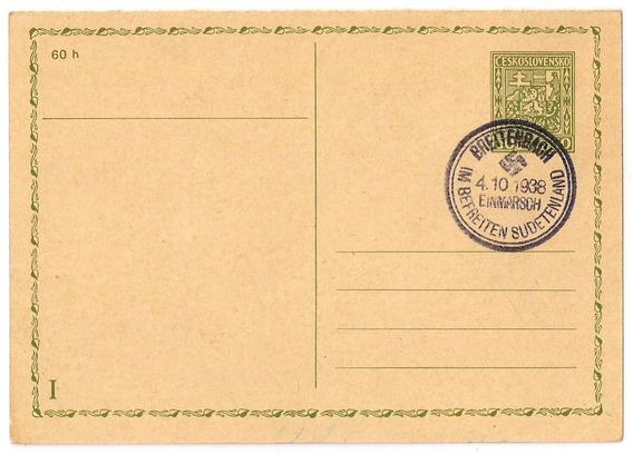 L2 - Alemania Reich Tarjeta Matasello Sudetenland Año 1938