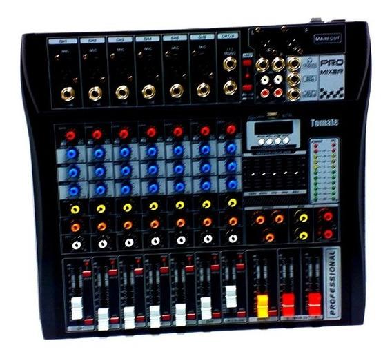 Mesa De Som 8 Canais Bluetooth Usb Mixer Mp3 Player Digital Efeitos Equalizador Tomate Tyt-008