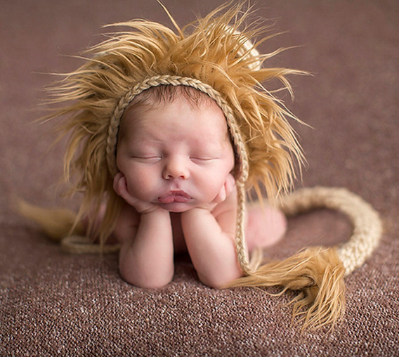 Touca Leão Em Crochê Bebê Leãozinho Ensaio Fotogáfico Newborn, Acompanhamento, Pink Props