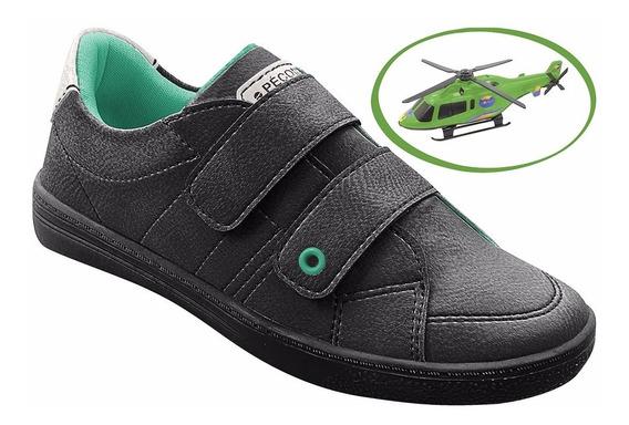 Sapato Infantil Menino Masculino Preto+brinde Helicóptero