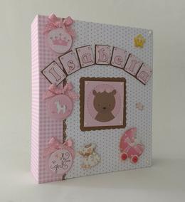 Álbum Diário Bebê Personalizado Scrapbook Ursa Princesa