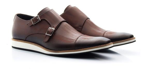 Sapato Oxford Masculino Casual Estonado De Fivela 521