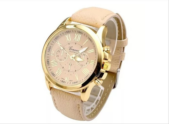 Relógio Feminino Geneva Luxo Casual Bege
