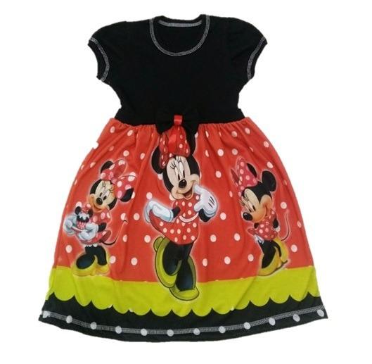 Vestido Infantil Minnie Vermelha Malha Roupa/fantasia