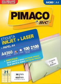 Etiqueta A4360 38,1x63,5mm Ink-jet/laser Pimaco 100 Folhas