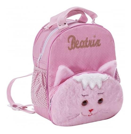 Mochila Personalizada Para Menina Gatinha Rosa G