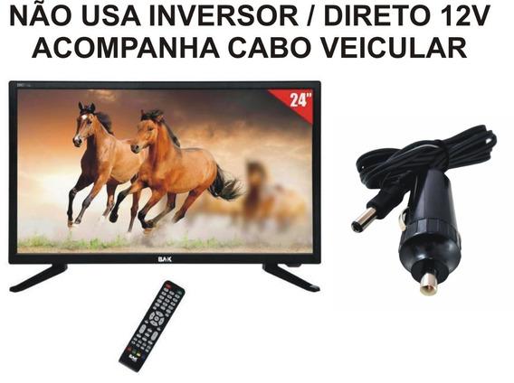 Tv 12v Digital Conversor 24 Pol 12 Volt Caminhao Carro Van