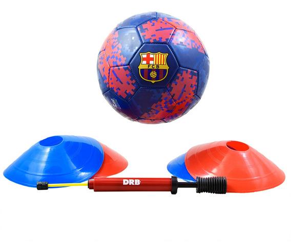 Combo Especial Fútbol Barcelona N° 5 Drb- Inflador -4 Conos
