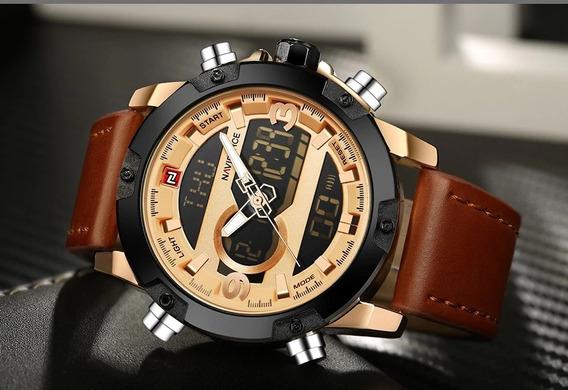 Relógio Masculino Naviforce 9097 Couro Original Cronógrafo