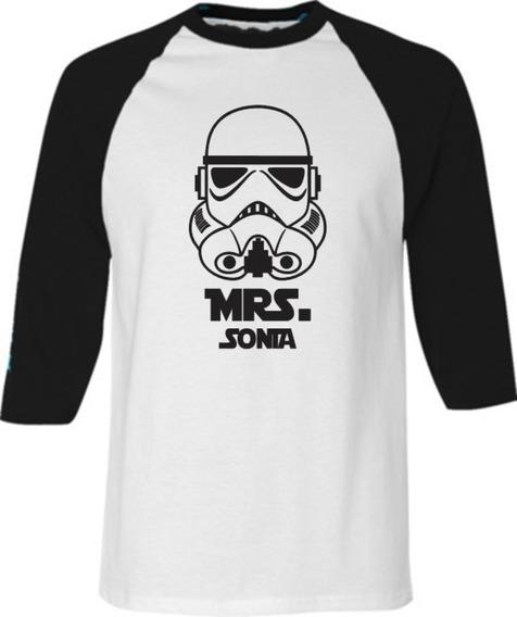 2 Playeras Beisboleras Amor Pareja Mr Mrs Star Wars