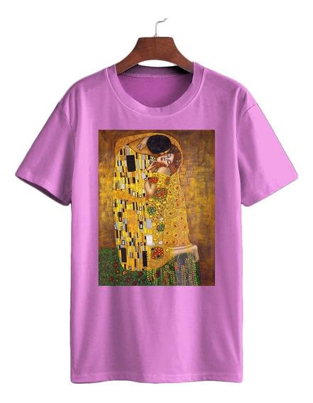 Camiseta Algodão Gustav Klimt O Beijo Art Nouveau Arte Viena