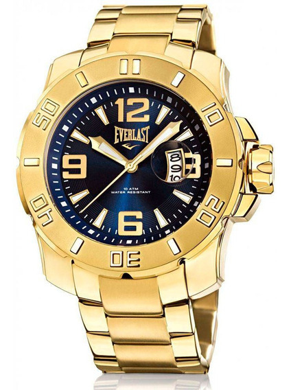 Relógio Masculino Everlast Caixa E Pulseira Aço Dourado E657