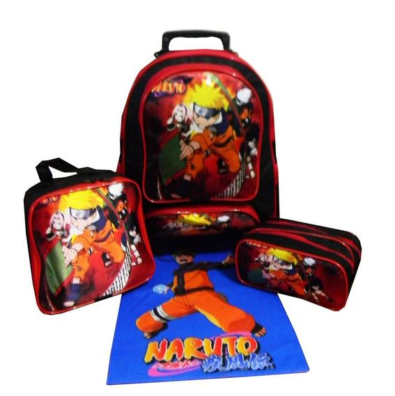 Kit Mochila Naruto Masculina Infantil Lancheira Estojo Aula