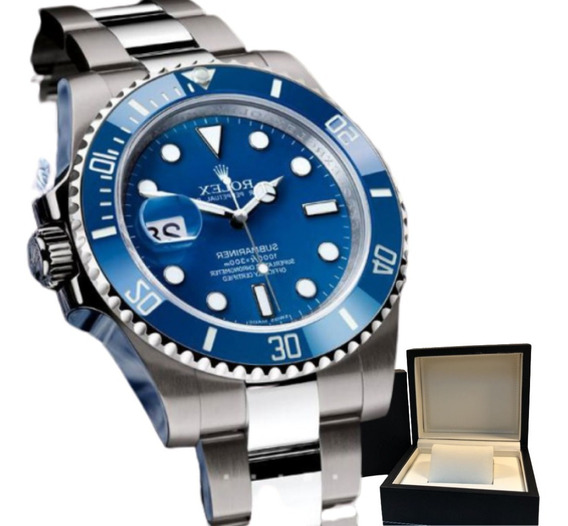 Relógio Rolex Submariner Automatico Caixa De Couro