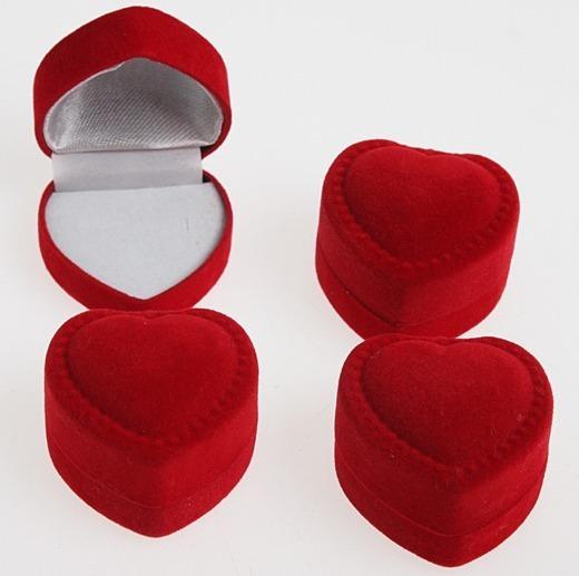 30 Estojo Anel Aliança Veludo Coração Vermelho Frete Gratis