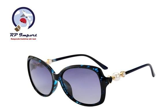 Óculos De Sol Lopert Pérola Feminino Azul Preto