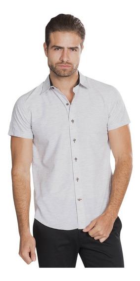 Camisas Hombre Manga Corta Blanca Slim Fit Casuales B85352