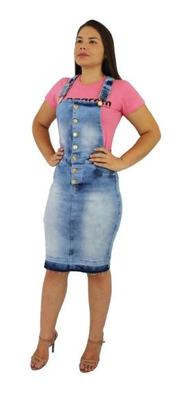 Jardineira Saia Jeans Modelo Tubinho Com Lycra (elastano)
