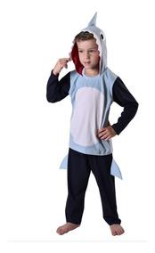 Fantasia Tubarão Pijama Baby Shark Longo Festa Fantasia