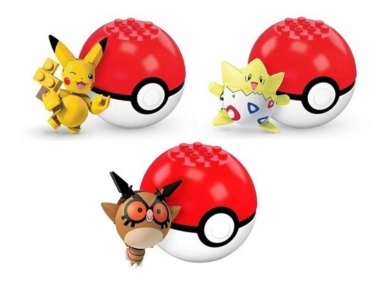 Kit 5 Pokemon Pokebola Para Montar Lego Mega Pikachu Mattel