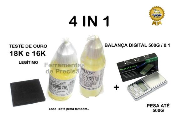 Kit Teste Ouro - Pedra Toque + Ácidos 18k 16k + Balança 500g