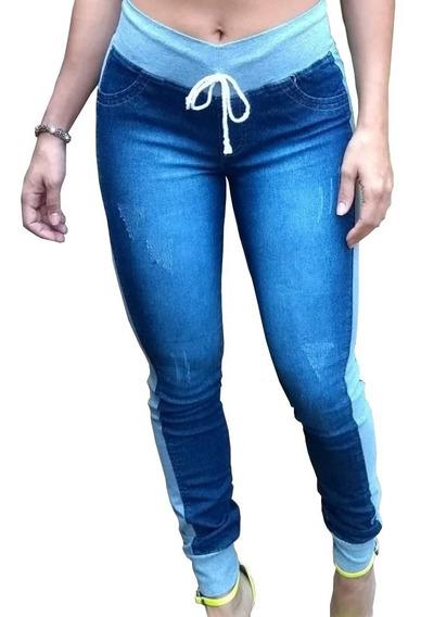 Calça Jeans Com Moletom Feminina Com Lycra