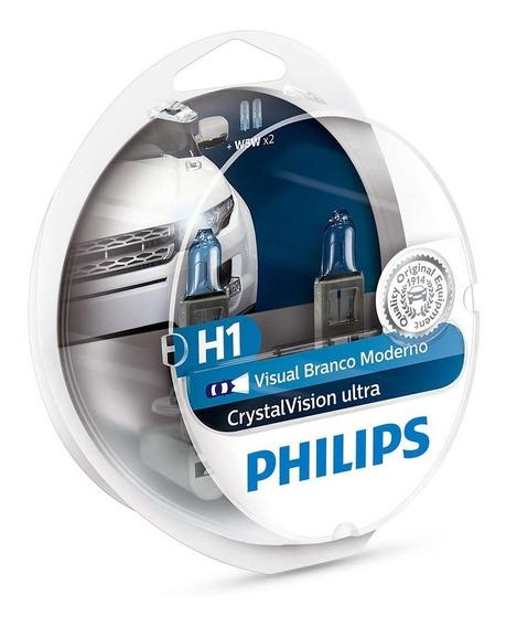 Par Lampada Philips H1 Crystal Vision Ultra 4300k + Pingos