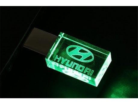 Pen Drive 16gb Cristal Led Hyundai Verde- Promoção Relâmpago