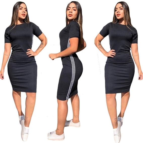 Vestido Midi Com Listra Lateral Modelo Insta