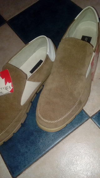 Zapato Cuero Gamuza Hombre C.crudo Claro Mb Estado!!