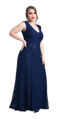 Vestido Fiesta Dama Encaje Con Brillitos Mujer