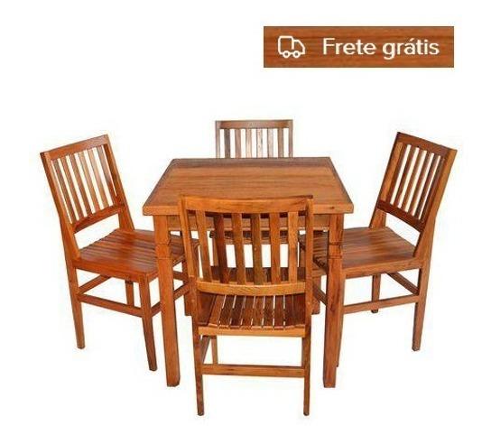 Mesa De Jantar Madeira Demolição 75x75+ 04 Cadeiras Cambory