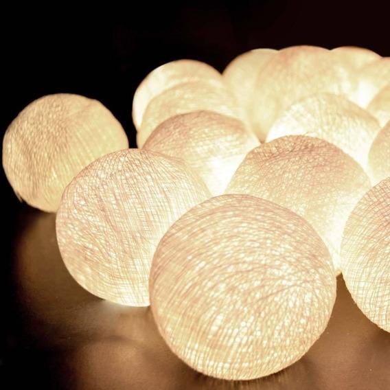 Cordão Luz Led Luminária 15 Bolinhas 4cm Varal A Pilha