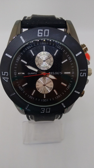 Lindo Relógio Luxo Unissex Pulseira Em Couro Preto Show