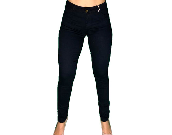 Calça Jeans Feminina Preta Cintura Alta Hot Pants Skinny
