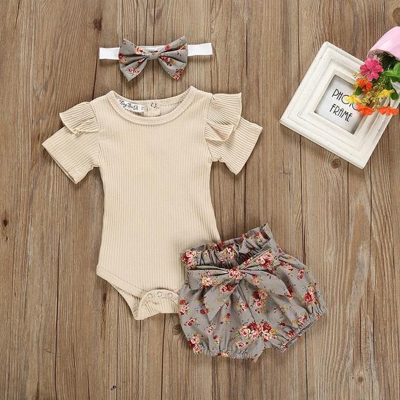 Roupas De Bebe Menina Conjunto Body, Shorts Floral E Lacinho