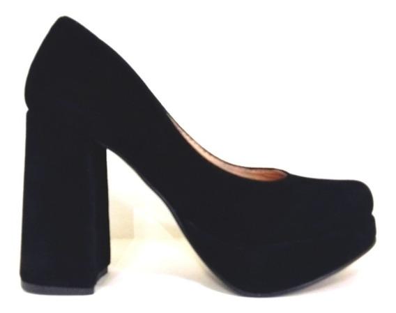 Zapatos Stiletto Con Taco Ancho 11cm Oxford Negro Gamuza