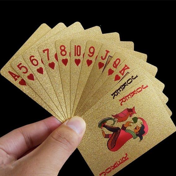 2 Baralho Dourado E Prata Poker Truco Cacheta Prova D