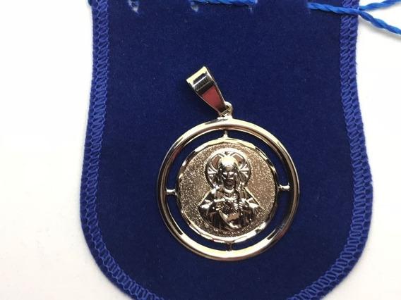 Medalha Sagrado Coração De Jesus Banhada A Ouro 18k