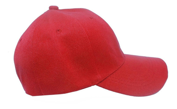 10 Bonés Vermelho Liso Aba Curva Aba Reta Boné 6 Gomos