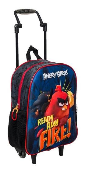 Mochila De Rodinhas Angry Birds Infantil Azul Menino Escolar