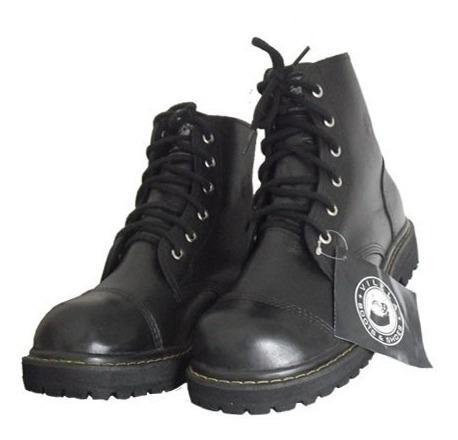 Coturno Vilela Boots Rock - Pespontado Couro Cano Baixo