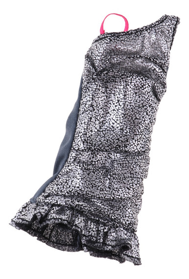 Vestido De Tirante De Hebra De Moda De Color Plata Para