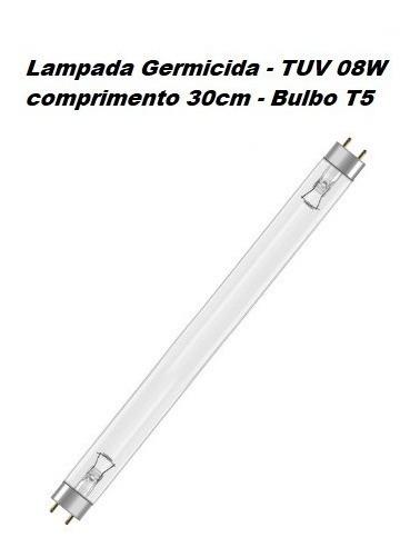 Lâmpada T5 Fluorescente 08w Uv Filtro Germicida 30cm Aquário