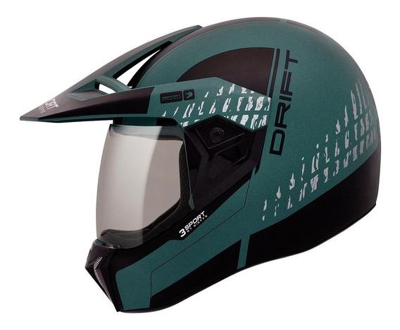 Capacete Esportivo Bieffe 3 Sport Cross Drift Verde Militar