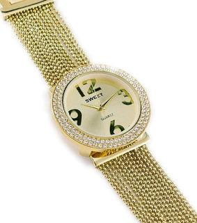 Reloj Sweet Dama Cristales Swarovski Acero Dorado Garantia