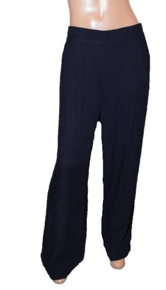 Portsaid Pantalon Azul Oscuro Clasico De Viscosa Ancho