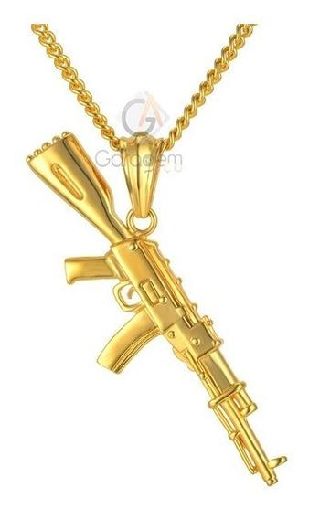 Cordão Banhado Ouro 90cm, Brinde Pulseira Pingente Ak 47